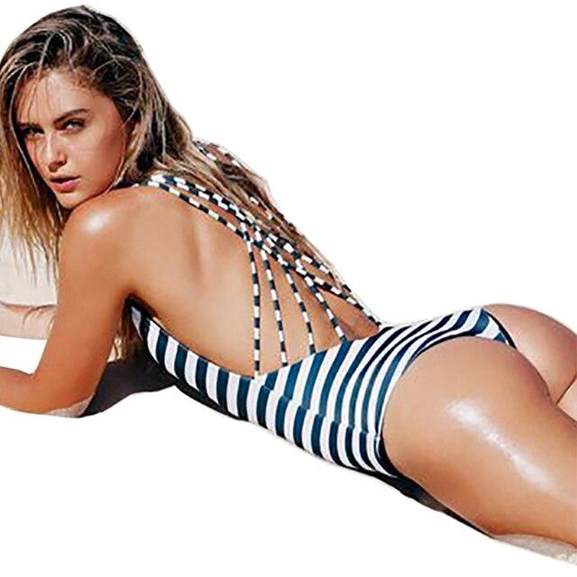 aab71a860efb1 Sexy Trikini 2018 One Piece Swimsuit Black White Striped Thong Swimwear  Women Triquini Monokini Bandage Plus Size Bathing Suit