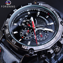 Forsining Fashion Mens Watch Automatic Black 3 Dial Calendar Luminous Hand Reflective Leather Band Mechanical Watches + Gift Box