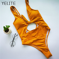YELITE One Piece Swimsuit Swimwear Bodysuit Women 2017 Solid Push Up Monokini Sexy Hollow Out Bathing