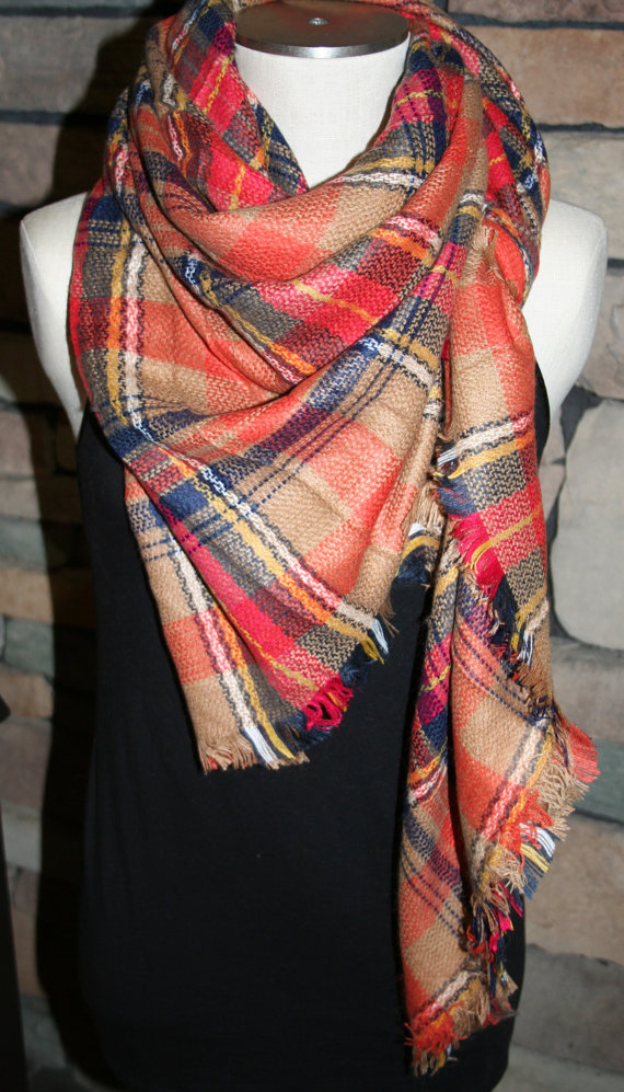 plaid tartan blanket scarf fall orange plaid scarf christmas gift scarves za style plaid 2014 bloggers favorite in scarves from womens clothing - Christmas Plaid Scarf