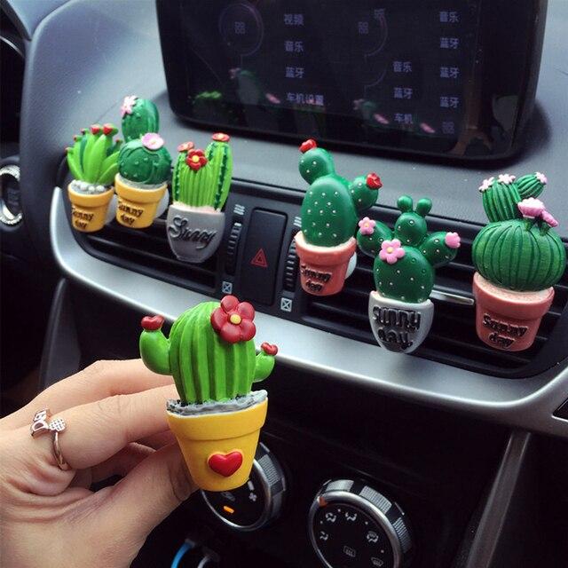 CHIZIYO ambientador de aire para coche Cactus plantas Perfume salida aire acondicionado fragancia Clip lindo adornos creativos