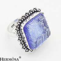 HERMOSA Jewelry Genuine Natural Beautiful And Charming 925 Sterling Silver Retro Color Glass Rings SZ 7