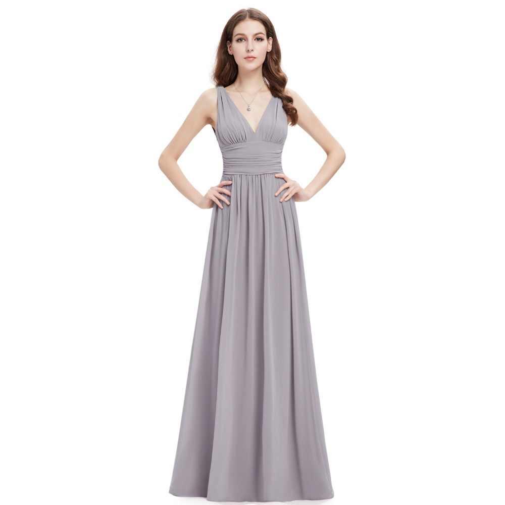 eedeff6c073 Серый шифон Вечерние платья постоянно довольно EP09905 Элегантные линии  2018 Свадебные платья шифоновое официально Платья для