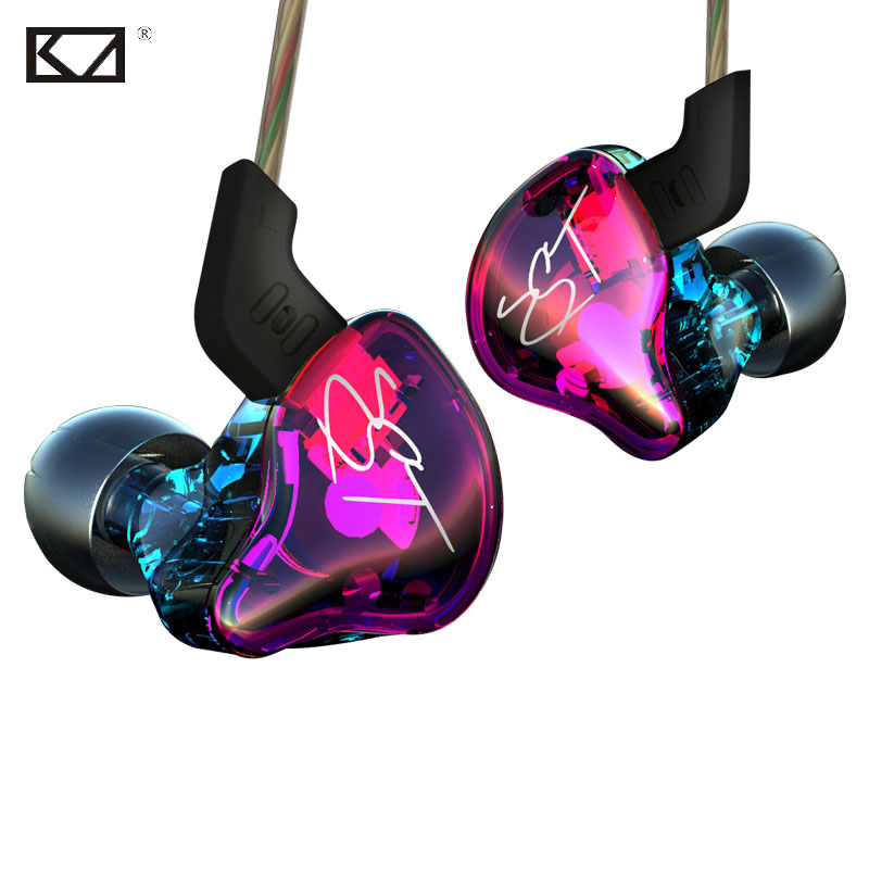 KZ ZST Pro Colorful New Hybrid Armature Dual Driver Earphone Detachable Cable In Ear Audio Monitors HiFi Music Sports Earbuds original senfer dt2 ie800 dynamic with 2ba hybrid drive in ear earphone ceramic hifi earphone earbuds with mmcx interface
