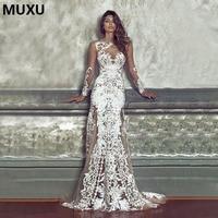 MUXU 2017 NEW Sexy Autumn Dress Women Clothing White Long Dress Long Sleeve Lace Dress Party