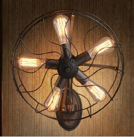 Industrial retro vintage fan wall lamp cafe clothing store wall decorative lights floor fan lights lighting fixture led lamps