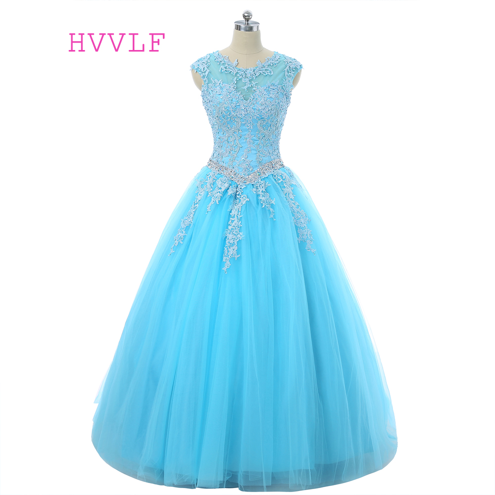Sky Blue 2019 Cheap Quinceanera Dresses Ball Gown Cap Sleeves See Through Tulle Appliques Lace Crystals Sweet 16 Dresses