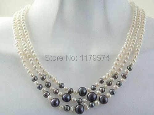 Woman jewerly Free shipping of new fashion hot new charming Beautiful! 3row 6-7mm White & Black Pearl natural Necklace W0149
