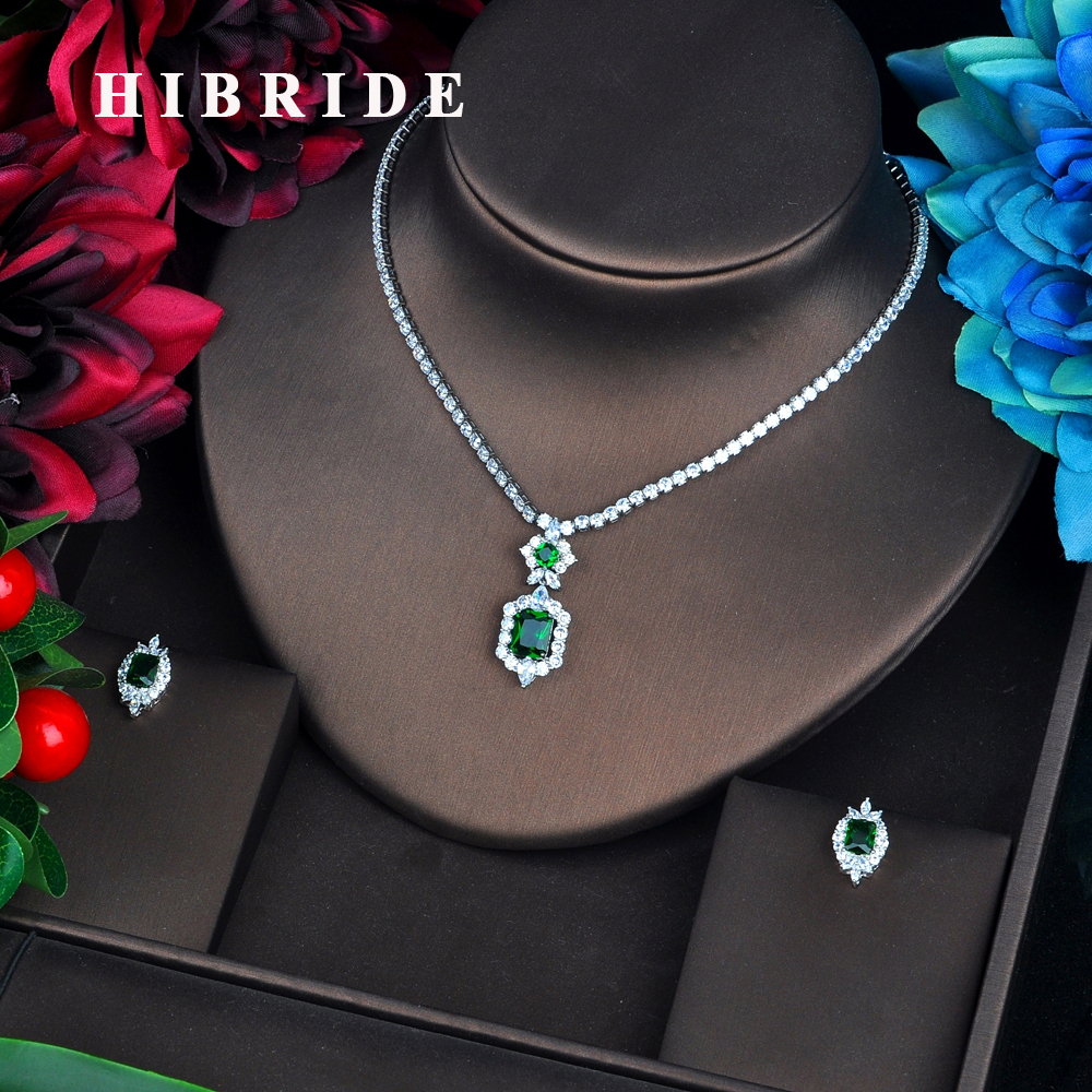 HIBRIDE Newly Green Color Jewelry Sets Luxury Sparkling Cubic Zircon Wedding Earrings Necklace Jewelry Sets Heavy Dinner N-577 hibride luxury top quality white green water drop shape cubic zirconia jewelry sets white gold color necklace earrings n 057