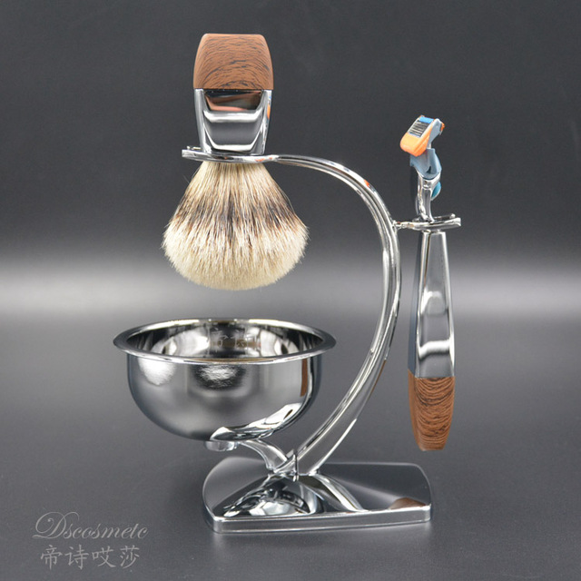 shaving brush set, silvertip badger hair,very good quality shaving bowl,shaving stand,shaving razor
