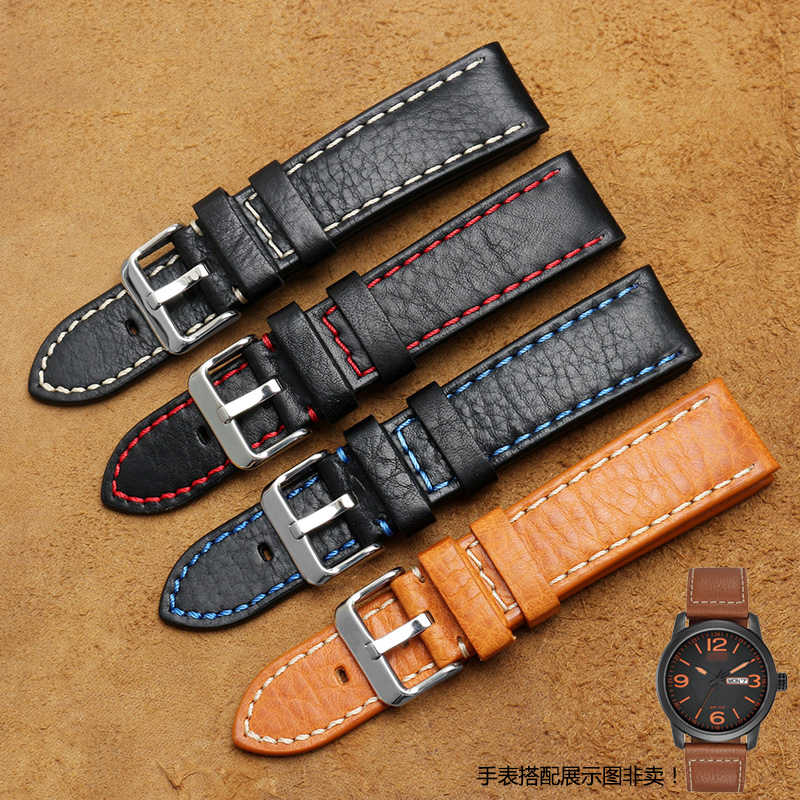 "Watchbands 20 22 24 מ""מ איטלקי אמיתי עור חום שחור איש בעבודת יד בציר שעון יד בנד רצועת מתכת אבזם"