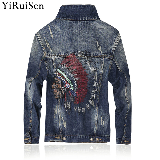 Indian Feather Headdress Embroidery Jeans Jacket Men 2018 New