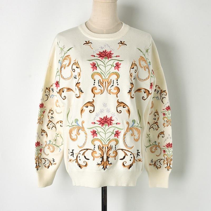 Marque Hiver D'or Piste Chandail Vêtements Luxe Jumper rose Automne De Knit Designer 2018 Florale Pulls Fil Femmes White Broderie Dames black r1raqpt