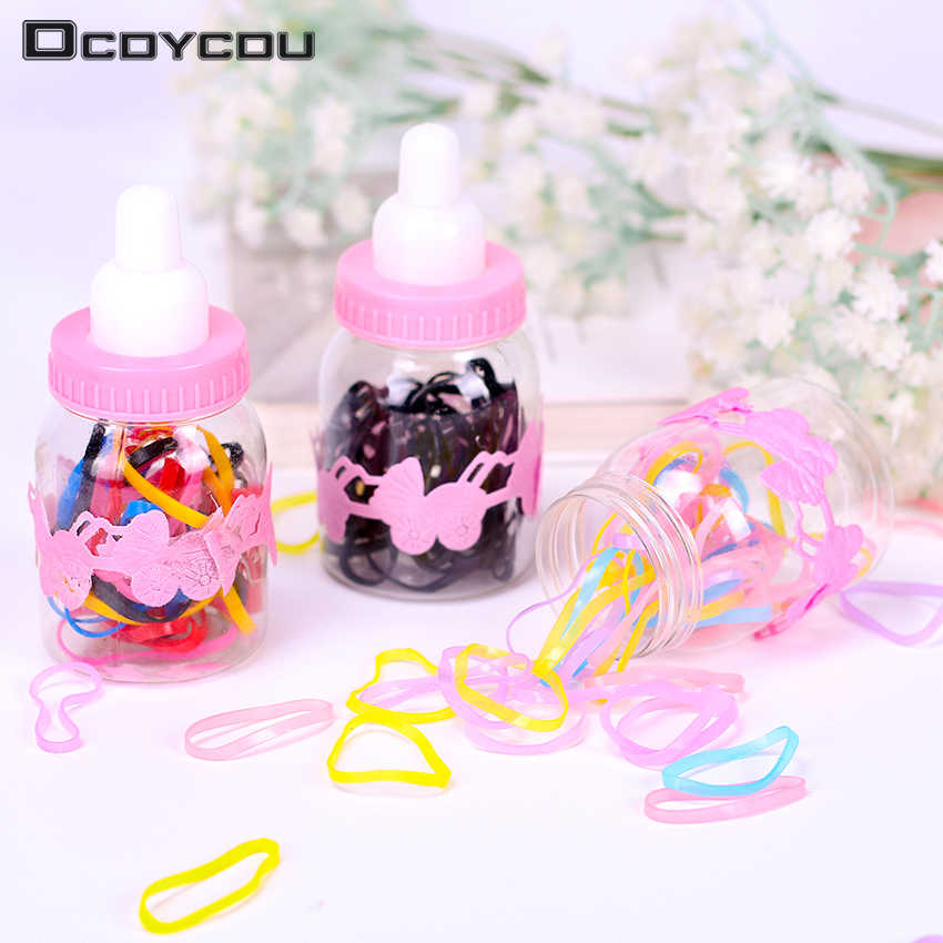 Korean Bottled Candy Color Headwear Hair Ring Ropes Ponytail Holder Disposable Elastic Hair Bands for Girls Hair Accessories