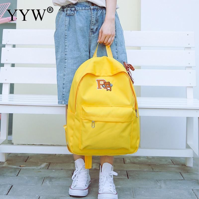 Canvas Backpack Yellow-Bag Women Knapsack Large-Capacity Designer Student Casual Young