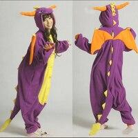 האופנה מבוגרים פיג 'מה Cosplay תלבושות יפן אנימה סרבל תינוקות Pyjama בעלי החיים פלנל הסגול ספיירו הדרקון חמוד