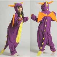 2016 Fashion Adult Pajamas Cosplay Costume Japan Anime Purple Spyro Dragon Cute Flannel Animal Onesie Pyjama