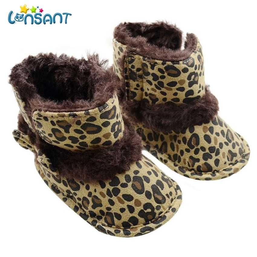 de4bca8c00602 LONSANT New Fashion Baby Snow Boots Soft Crib Children Girls Shoes Leopard  Toddler Boots First Walker