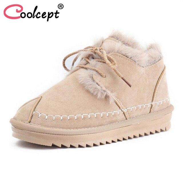 Coolcept Women Snow Boots Winter Warm Boots Plush Fur Shoes Women Lace Up Round Toe Shoes Fashion Woman Footwear Size 35-40