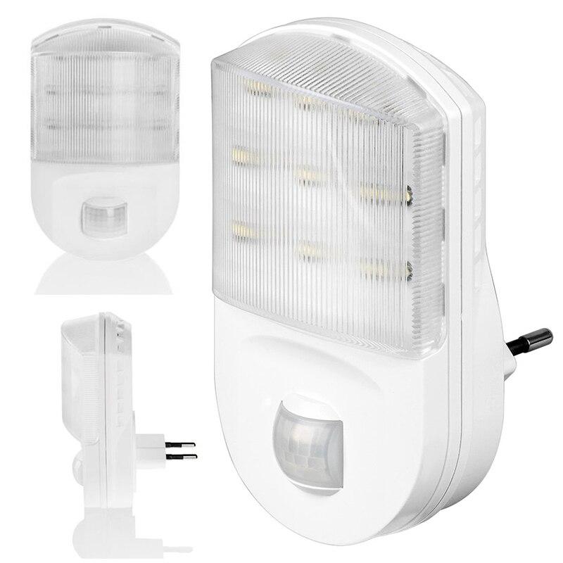 9 LED Night Light Plug In Detector Motion Socket Light Hallway Safe Night Emergency Lamp