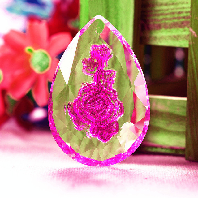 20pcs Facet Rose Crystal Prisms Suncatcher Chandeliers Parts Garland ...
