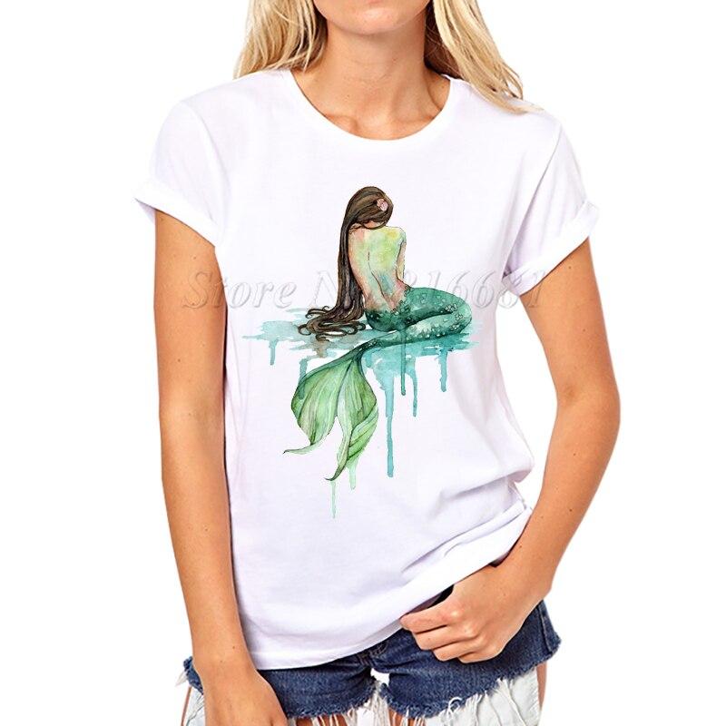 2016 Women Fashion <font><b>water</b></font> <font><b>color</b></font> Mermaid Design T <font><b>shirt</b></font> for women Novelty Tops Lady Short Sleeve Tees px471