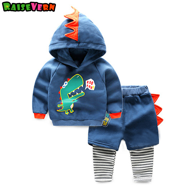 2017 Autumn Winter Dinosaur 2-6T Children Long Sleeve Hooded Jacket Striped Pant Clothes Sets Kids Baby Boy Girl Casual Suits dunlop winter maxx wm01 205 65 r15 t