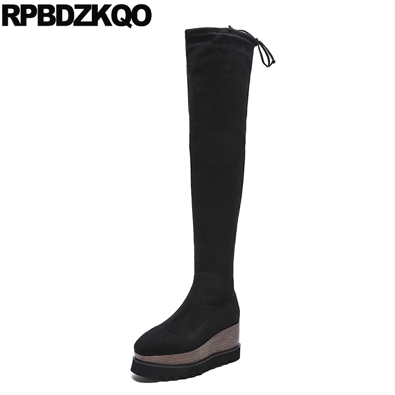 Wedge Big Size High Quality Stretch Slim Black Long Muffin Platform Elevator Square Toe Over The Knee 10 Suede Thigh Women Boots
