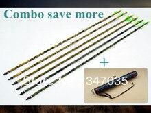 Free shipping roll fiberglass camo arrow 12 pcs 31″ archery bow shoot hunt + 1 pc back quiver arrows bag holder outdoor