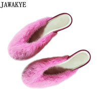 2018 Newest rose green mink fur slippers round toe flip flops kitten heels out door mules runway style fall winter shoes women