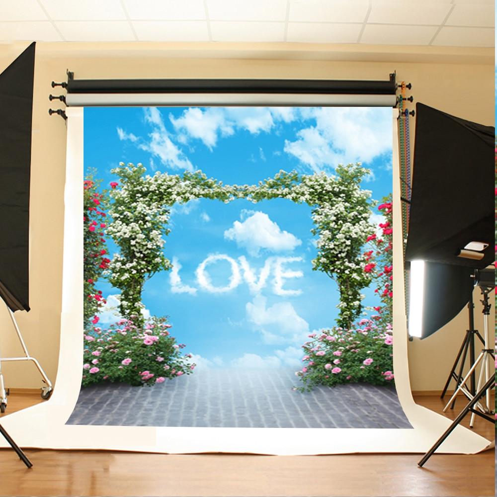 Wedding Photo Background Blue Sky White Love Digital Printing Backdrops Flower Brick Ground Background for Photographic Studio blue sky чаша северный олень