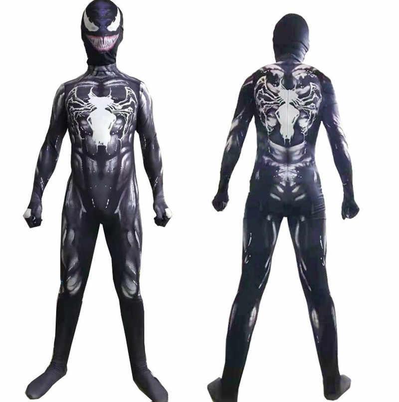 Yeni symbiote örümcek adam venom kostüm çocuklar suit tulum maskesi erkek yeni yıl Cosplay cadılar bayramı kostümleri erkekler için yetişkin süper kahramanlar