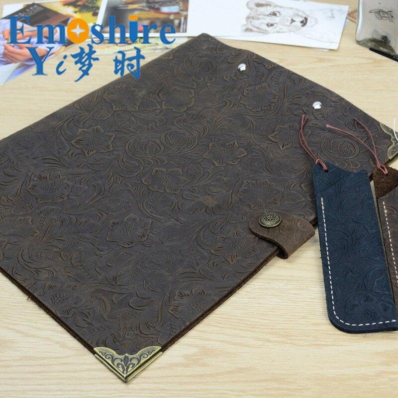 Vente chaude de haute qualité en cuir de vache dossier Clip fichier haute qualité en cuir fichier dossier sac dossier sac Notebook sac F001