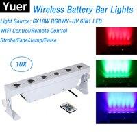 10XLot Flightcase Pack Battery Wireless Wall Washer Lights 6X18W RGBWY UV 6IN1 DMX Strobe Uplights With WIFI/Remote Control