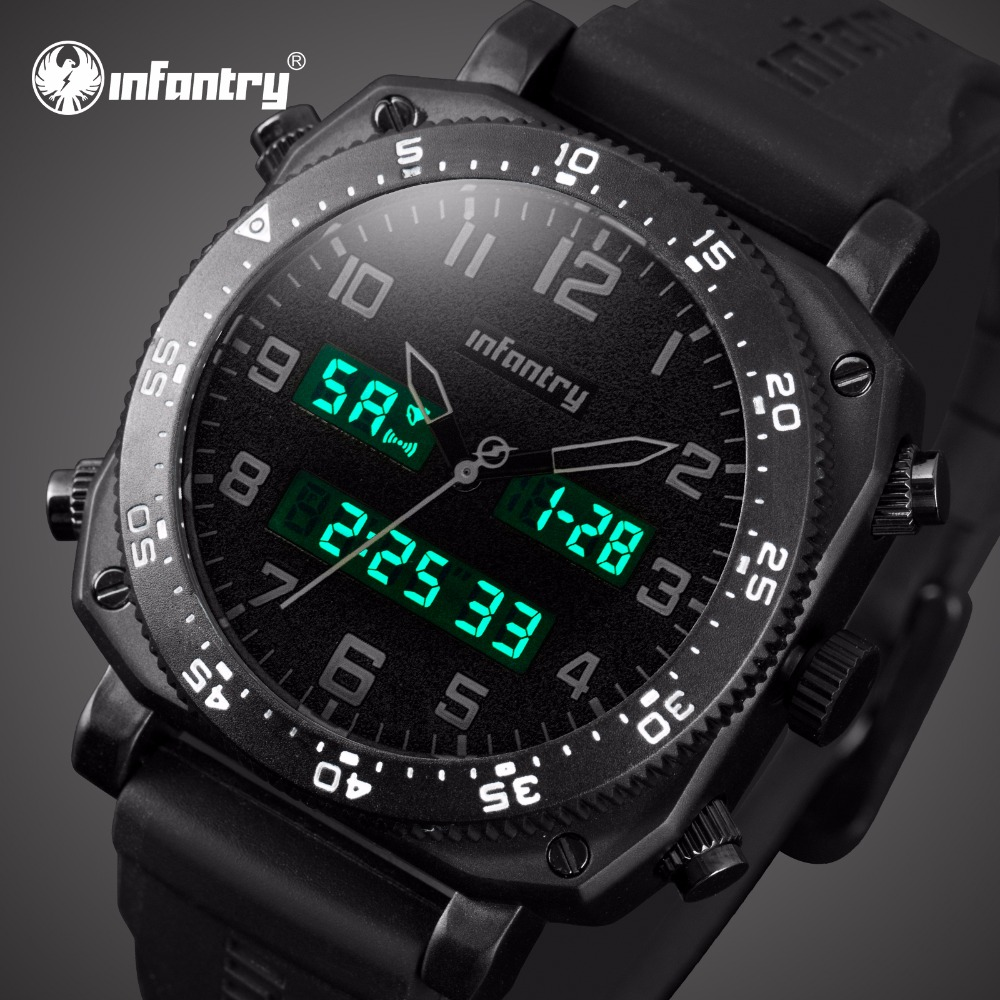 Top Luxury Brand INFANTRY Men Army Military Sports Watches Men's Quartz LED Display Clock Rubber Wrist Watch Relogio Masculino top luxury brand men military waterproof rubber led sports watches men s clock male wrist watch relogio masculino 2017