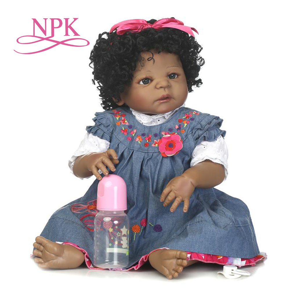 NPK 57cm popular Christmas holiday gifts simulation reborn baby can enter the water silicone reborn baby dolls African American NPK 57cm popular Christmas holiday gifts simulation reborn baby can enter the water silicone reborn baby dolls African American