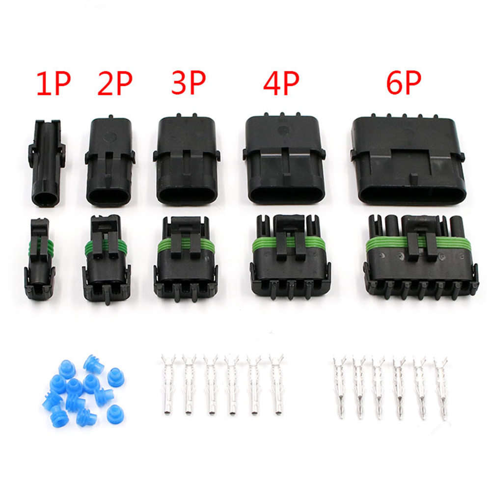 1 Set  2 3 4 6Pin Weather Pack Weatherpack Auto Waterproof Electrical Wire Cable/2/3/4/6 Pin Way Connector Plug 8-4 GA