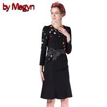 2017 Autumn Winter Women High Quality Noble Crystal Beading Button Bodycon Black Dress WIth Belt Women Vestidos DG106