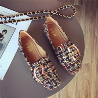Metal buckle flat design color mixed wool loafers buckle belt brand loafers shoes woman toe espadrilles