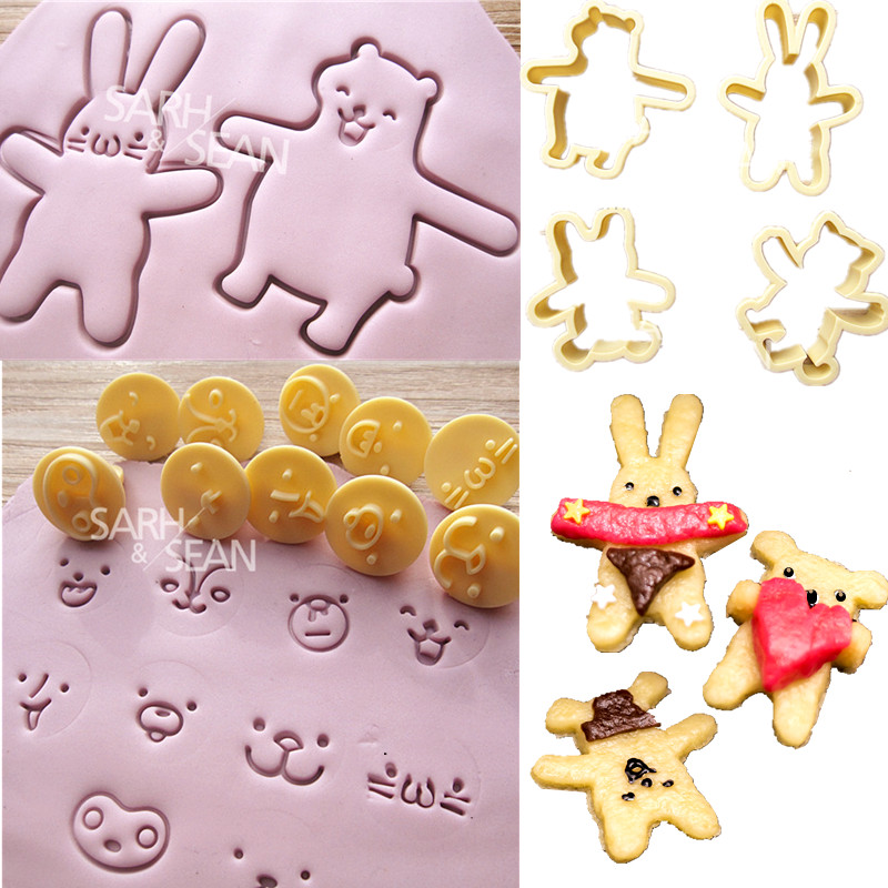 SLH269 rabbit bear face expression Fondant Gum Paste Biscuits Cutter Decorating Sugarcraft Tools Kitchen Cookie 12pcs/set