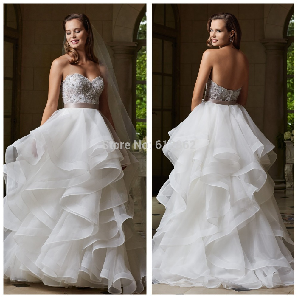 Strapless Low Back Beaded Lace Bodice Ruffle Organza Skirt