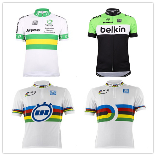 Santini UCI Leader Time Trial World Cup Short Sleeve Jersey Track World and Australia  National Team belkin Jersey d4ba2cf75