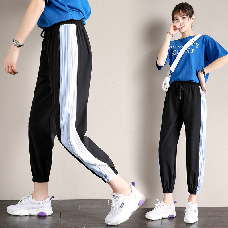 Real shot new fashion ice silk casual   pants   2019 women's loose thin section   wide     leg   sports beam feet nine   pants