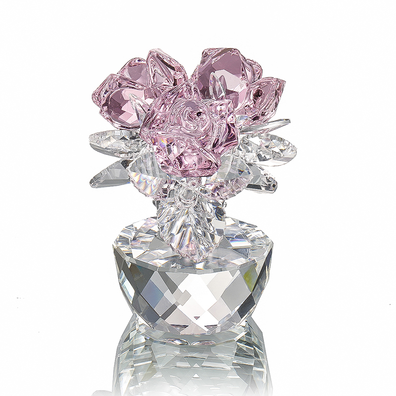 Кварцевые хрустальные статуэтки H & D с тремя розами, украшение для дома, свадьбы, вечеринки, сувениры, подарки для влюбленных (розовый)