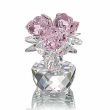 H&D Quartz Crystal Three Roses Craft Bouquet Flowers Figurines Ornament Home Wedding Party Decor Souvenir Lovers Gifts(Pink)