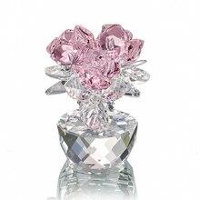 H & D الكوارتز الكريستال ثلاثة الورود الحرفية باقة الزهور التماثيل زخرفة المنزل حفل زفاف ديكور تذكارية عاشق الهدايا (الوردي)