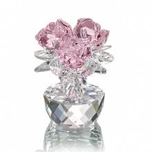 H & d cristal de quartzo três rosas artesanato buquê flores estatuetas ornamento casa decoração festa de casamento lembrança presentes do amante (rosa)