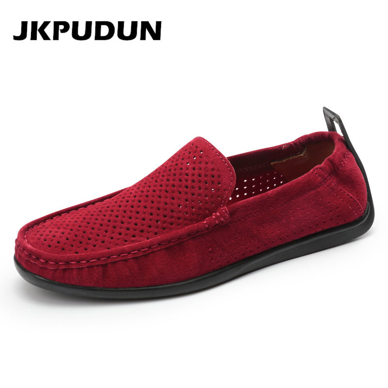 JKPUDUN Italian Summer Mens Breathable Shoes Casual Red
