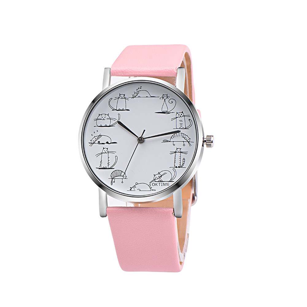 Retro Design Lovely Cartoon Cat Leather Band Analog Alloy Quartz Wrist Watch women watch gift clock Relojes de mujer dignity 9.9 fabulous 1pc new women watches retro design leather band simple design hot style analog alloy quartz wrist watch women relogio