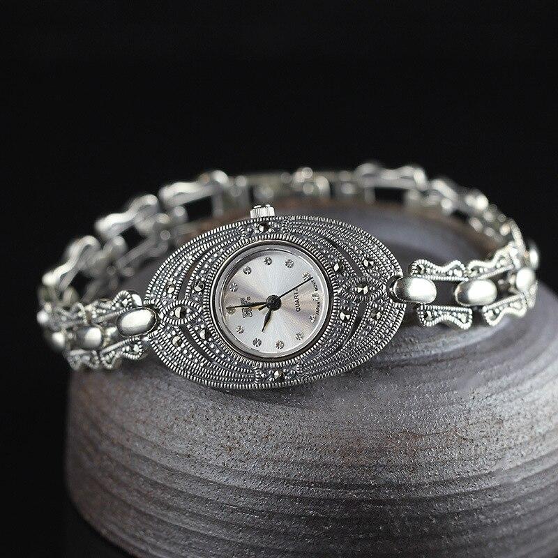 Лидер продаж Для женщин Серебряный браслет часы S925 реальная Серебряный браслет часы реального чисто серебряный браслет с шармами часы реал